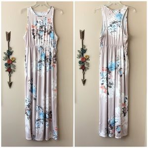 Tan Floral Racerback Maxi Dress One Size, NWOT
